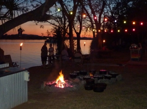Sunset over lake Kununurra as we wait for our camp oven dinner