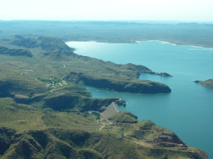 Beautiful Lake Argyle taken out the plane window