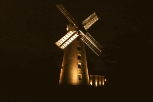 The windmill at night.