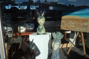 Window display in one of the many art and craft shops