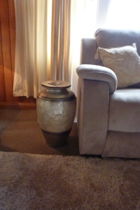 Urn converted to side table