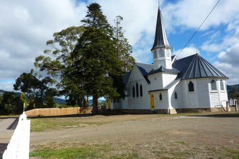 A pretty old church in the Huon Valley. Loved the yellow door.