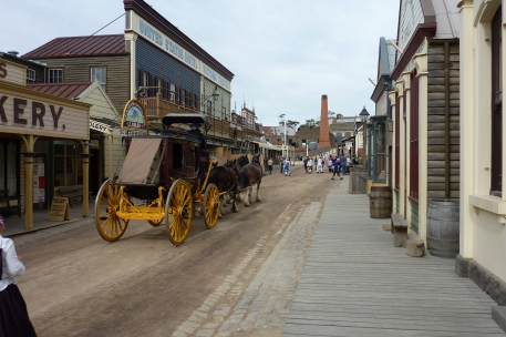The main street of the re-created 1850's Sovereign Hill.