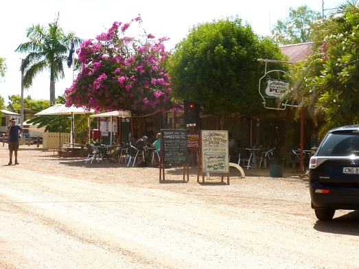Dusty main street into Daly Waters.