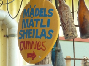 For my overseas readers - Dunnies is Aussie for toilet, Sheilas is Aussie for female.