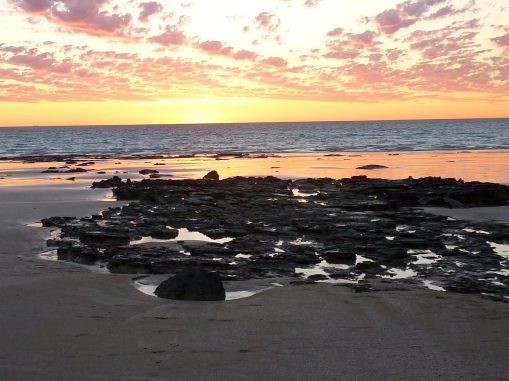 Rock pools to add interest to an evening beach walk.