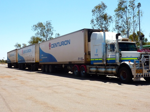 A road train with three carriages, (some have four carriages and can be up to 53metres long.)