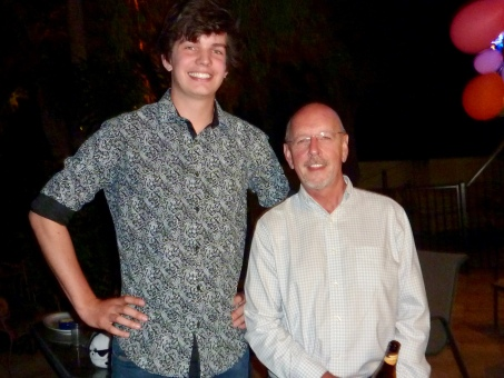 Pop with grandson 2 towering over him.