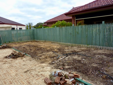 The shade house removed, prior to the fence replacement.