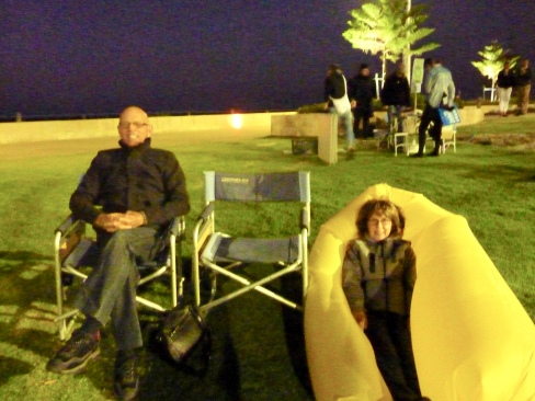 Kay and Brian supporting me and the band - check out the pod Kay is cocooned in against the cold - cool eh!